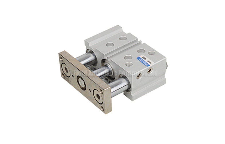 Compact 3 Shaft Double Acting Pneumatic Air Cylinder Sliding Bearing Type With Guided Rod Plate